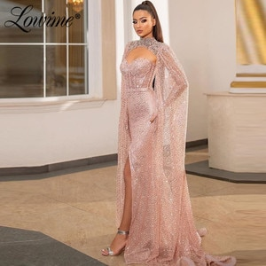 Dubai Crystal Beading Pink Evening Dresses 2020 Arabic Party Dress For Weddings Robes De Soiree Mermaid With Jacket Prom Dresses