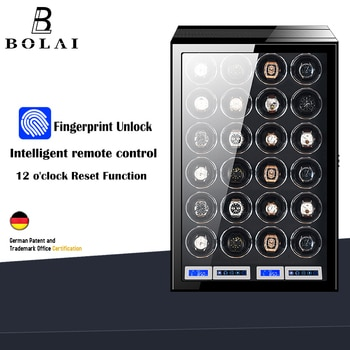 Fingerprint Unlock Watch Winder Luxury Brand 24 Automatic Watch Box with LCD Touch Screen Wooden Watches Storage Safe Box Case