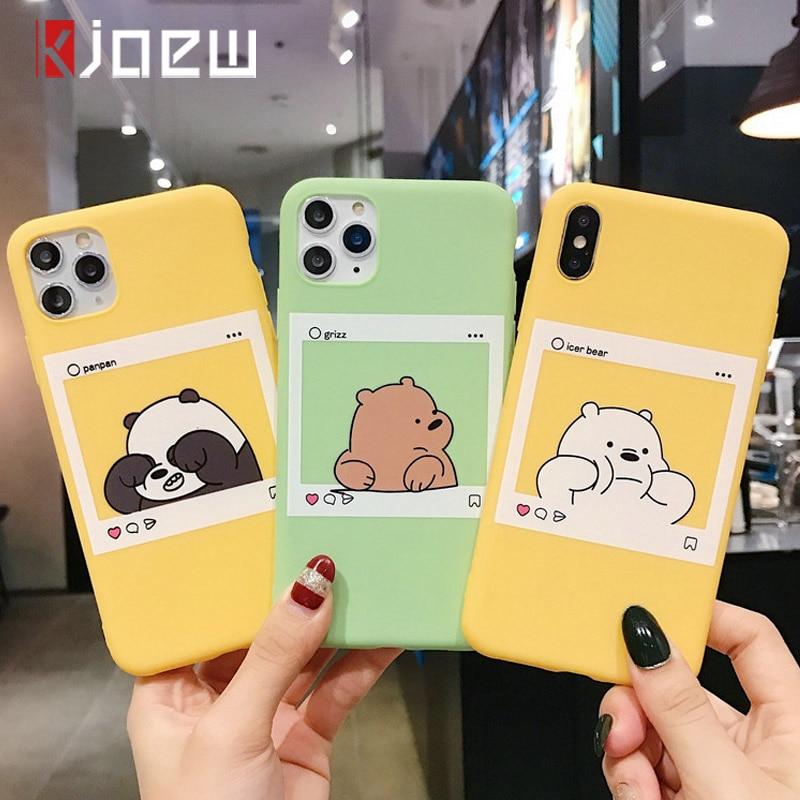 KJOEW Cute Cartoon Funny Bear Panda Pattern Phone Case For iphone 11 Pro Max X XS Max XR 6 6S 7 8 Plus Soft TPU Back Cover Cases