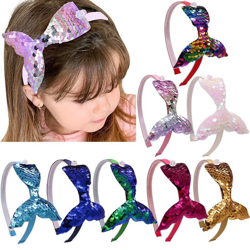 Rainbow Mermaid tail Pearls Headbands Hair Accessories Reversible Sequins Hair Bands Headwear for Girls Mermaid Party Headdress