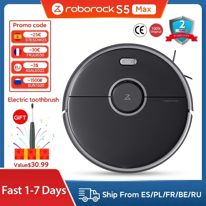 Roborock Robot  S5 Max Vacuum Cleaner Smart Sweeping Cleaning Electric Steam Mop For Home Wireless Carpet Dust Collector Robotic