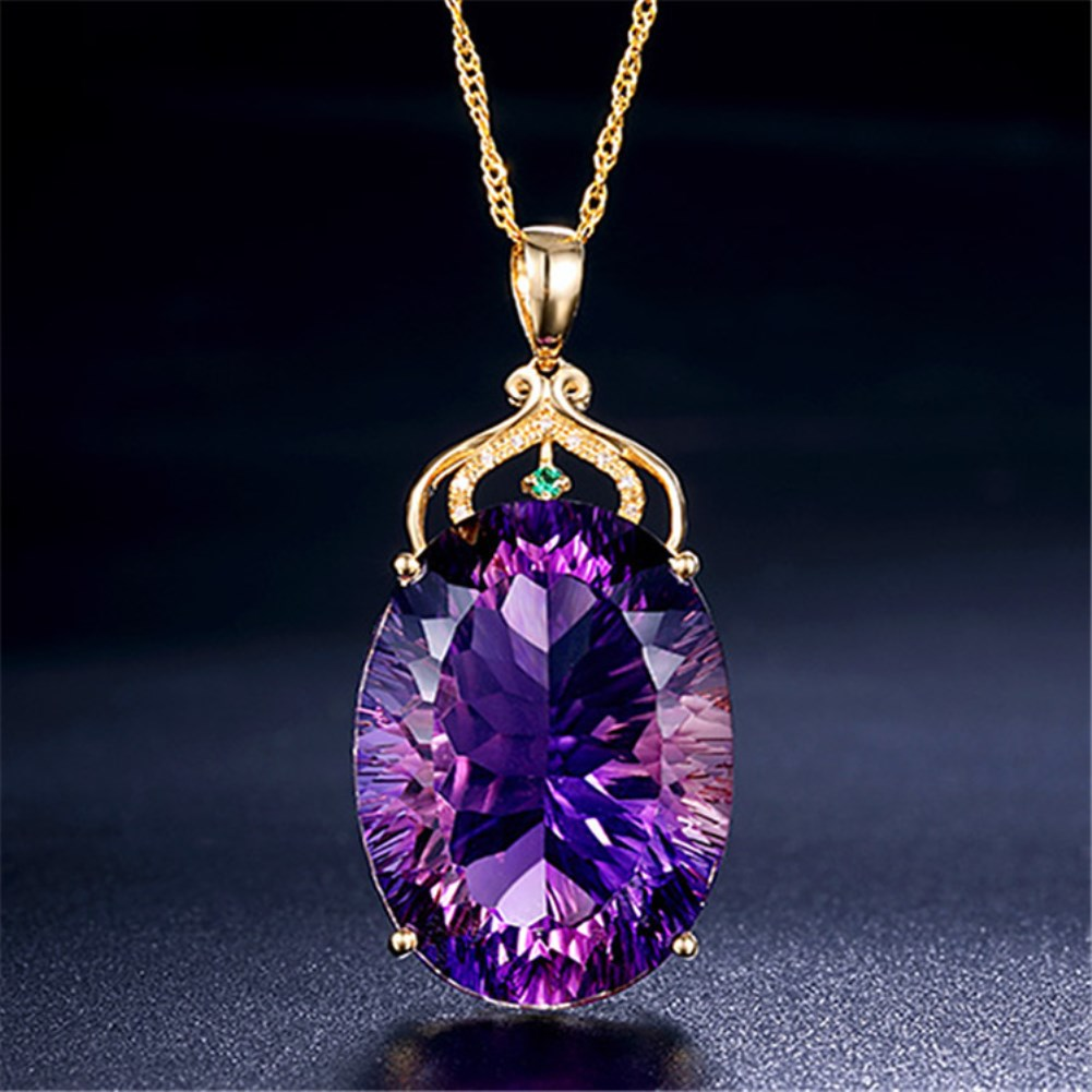 Fashion Luxury Gold Plated Women Necklace with Big Oval Shiny Purple Crystle for Party Mother Girlfriend Gift Jewelry JDZ412