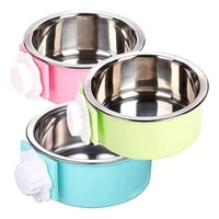 new dog bowl removable stainless steel hanging pet cage bowl food water feeder coop cup for cat puppy birds rats guinea pigs