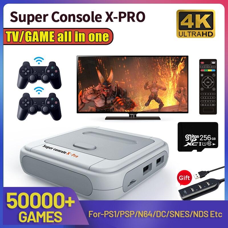 سوبر وحدة التحكم X برو ريترو لعبة فيديو لوحات المفاتيح صندوق التلفزيون ألعاب ل PSP/PS1/N64/تيار مستمر HD واي فاي الناتج المزدوج نظام مدمج 50000 + ألعاب