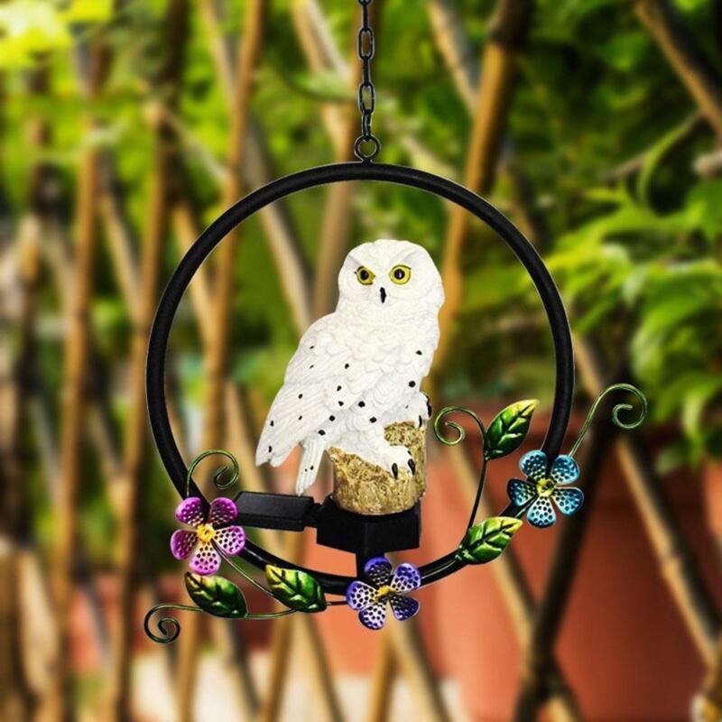 Solar Power LED Owl Parrot Hanging Lamp Waterproof Garden Decorative Light Outdoor Solar Powered Led Path Lawn Yard Garden Lamps