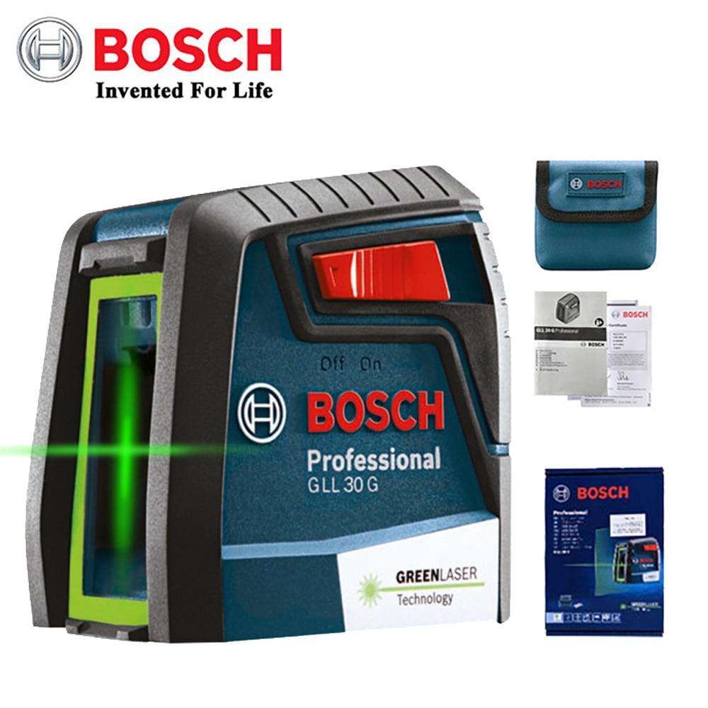 Bosch GLL30G مستوى الليزر عالية الدقة الضوء الأخضر خطين أداة الأفقي والرأسي في الأماكن المغلقة أو في الهواء الطلق تسوية السيارات