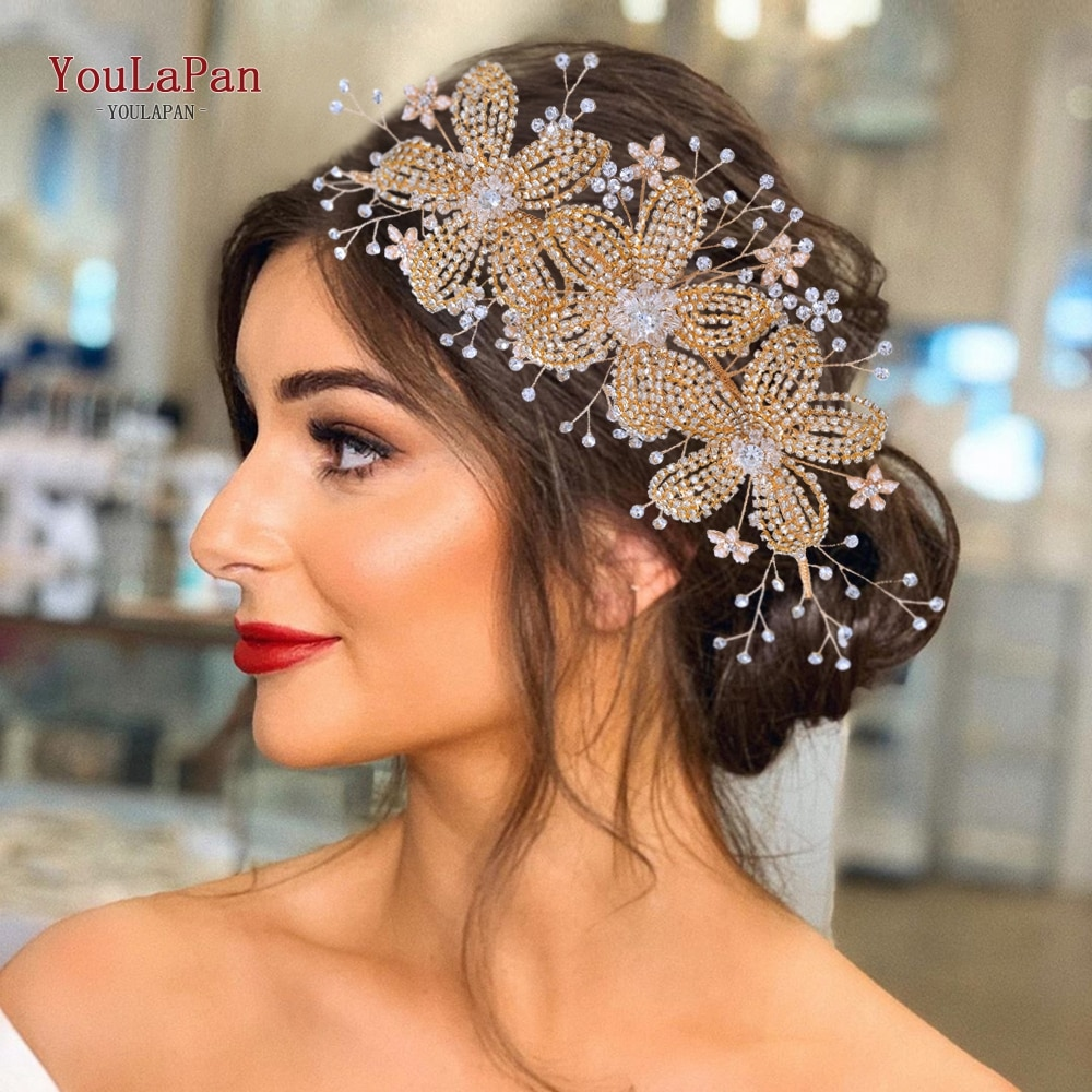 YouLaPan HP252 Golden Bridal Crown Tiara Rhinestone Wedding Hair Jewelry Bridal Hair Accessorie Luxury Crystal Bridal Headwear