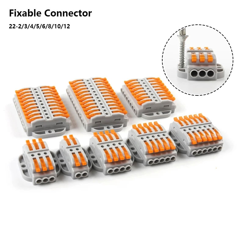 aliexpress.com - 10/30/50PCS Quick Docking Cable Wire Connectors 2-12 pin screw fixing push-in Universal compact Electrical Wiring Terminal Block