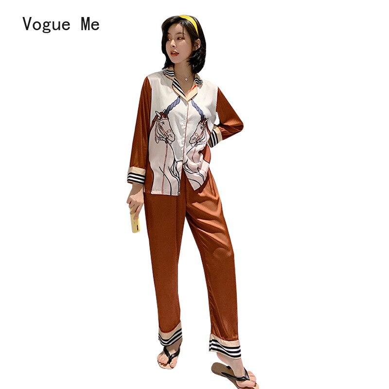 موضة جديدة عادية المنزل ثوب النوم سترة الخامس طوق المرأة منامة بسيطة الطبيعية المرأة منامة دعوى بيجامة من الحرير للنساء