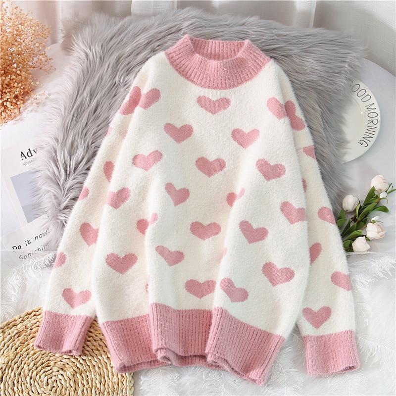 Serie coreana de ropa ligera de lujo de otoño e invierno suéter con Base de corazón dulce suéter de mujer 2020 nuevo estilo de moda suelta coreana