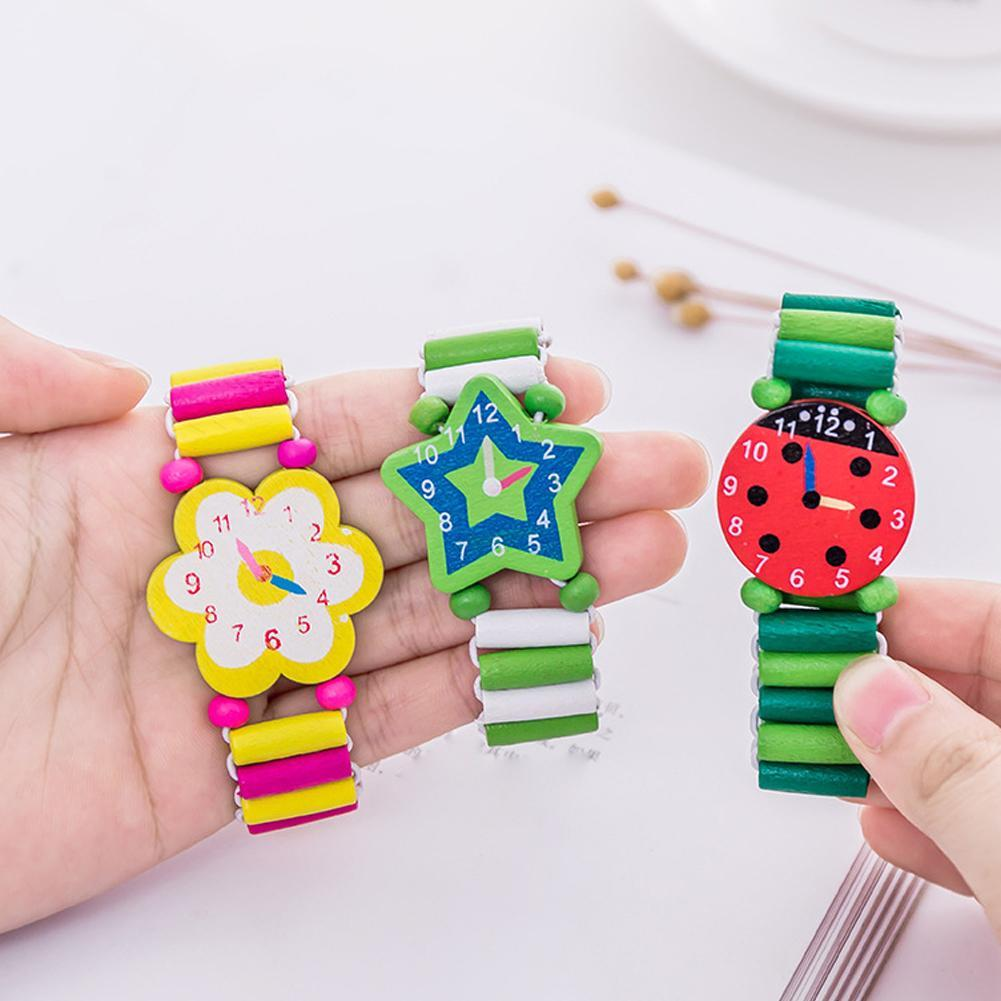 Kids Wooden Handicrafts Toys For Children Learning & Education Cartoon Elastic Watches Party Favors