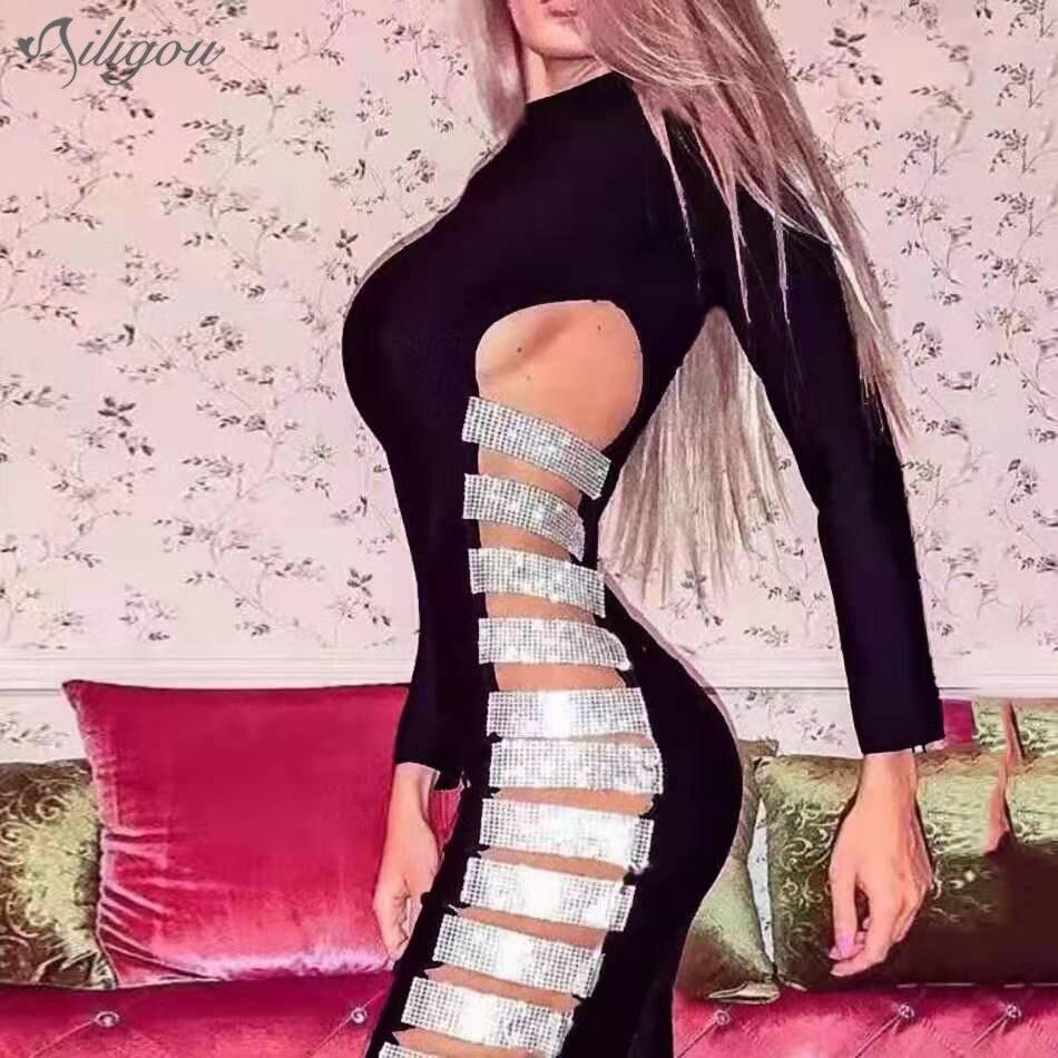 Ailigou 2020 otoño nuevo vestido de vendaje de mujer Sexy cuello redondo manga larga hueco apretado Vestidos de fiesta de celebridad