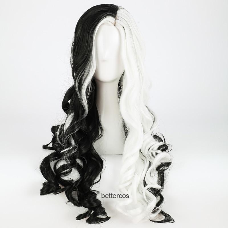 CRUELLA Deville De Vil Cosplay Wigs 75cm Long Curly Half White Half Black Heat Resistant Synthetic Hair Wig + Wig Cap