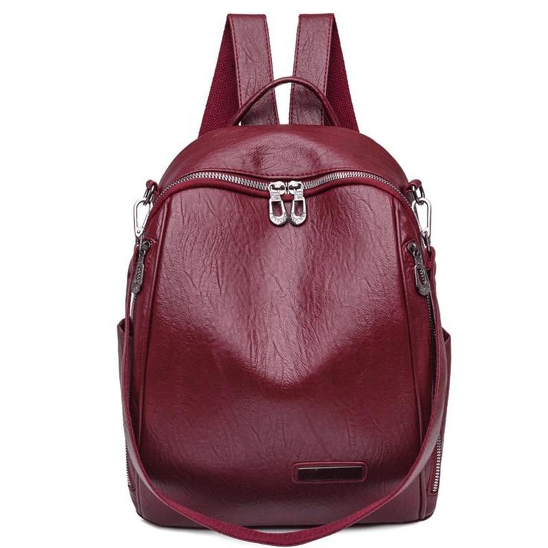 Высококачественные женские кожаные рюкзаки, многофункциональные рюкзаки для девочек, консервативный стиль, женский рюкзак, винтажный рюкз...