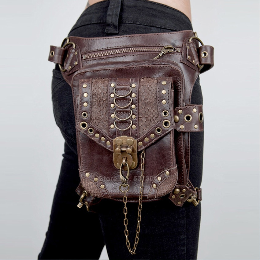 Victorian Gothic Steampunk Metal Leather Messenger Bag Men Women Vintage Medieval Accessories Motorcycle Mini Crossbody Bag