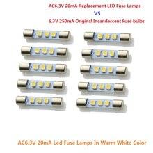 10x6.3V 20mA LED équipement Audio éclairage remplacer incandescente fusible lampe ampoules convient Marantz,Sansui,Keenwood Vintage receveurs