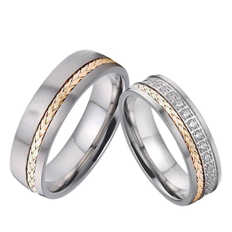 التحالف مخصص خواتم الزفاف مجموعة للرجال والنساء 14K ارتفع الذهب مجوهرات مصنوعة من التيتانيوم زركونيا الماس الزواج زوجين خاتم زوج