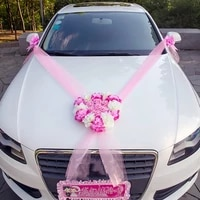 wedding car decoration flowers artificial rose garland ribbon tulle decor for wedding car props valentines day party supplies