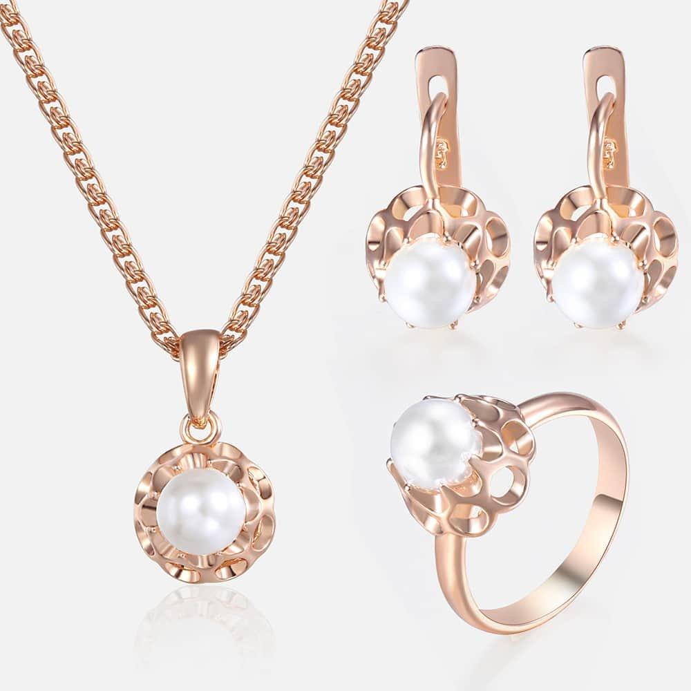 Komplet biżuterii damskiej dziewczyny 585 perła z różowego złota kolczyki wisiorek obrączka naszyjnik zestaw moda kobieta biżuteria prezenty hurtowo KGE142