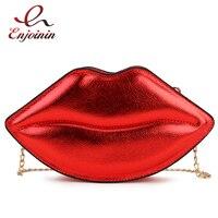 Женский Повседневный клатч в виде губ, пикантная сумочка на цепочке, кошелек на плечо, женская сумка через плечо, модный красный саквояж из и...