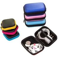 mini zipper hard headphone holder case portable earbuds pouch box earphone storage bag protective usb cable organizer storage