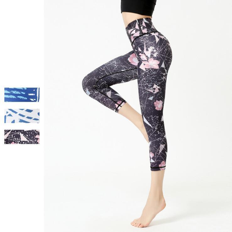 Pantalones capri de Yoga estampados para mujer, pantalones elásticos altos para gimnasio, ropa ajustada para Fitness, mallas deportivas para gimnasio, pantalones para yoga y correr, pantalones de entrenamiento