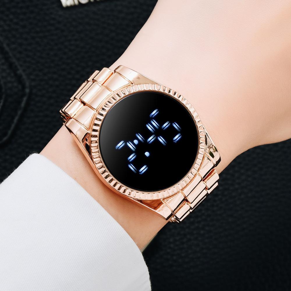 AliExpress - Luxury Digital Bussiness Watches For Women Ladies Dress Fashion Gold LED Dial Bracelet Quartz Wrist Watches Female Reloj Mujer
