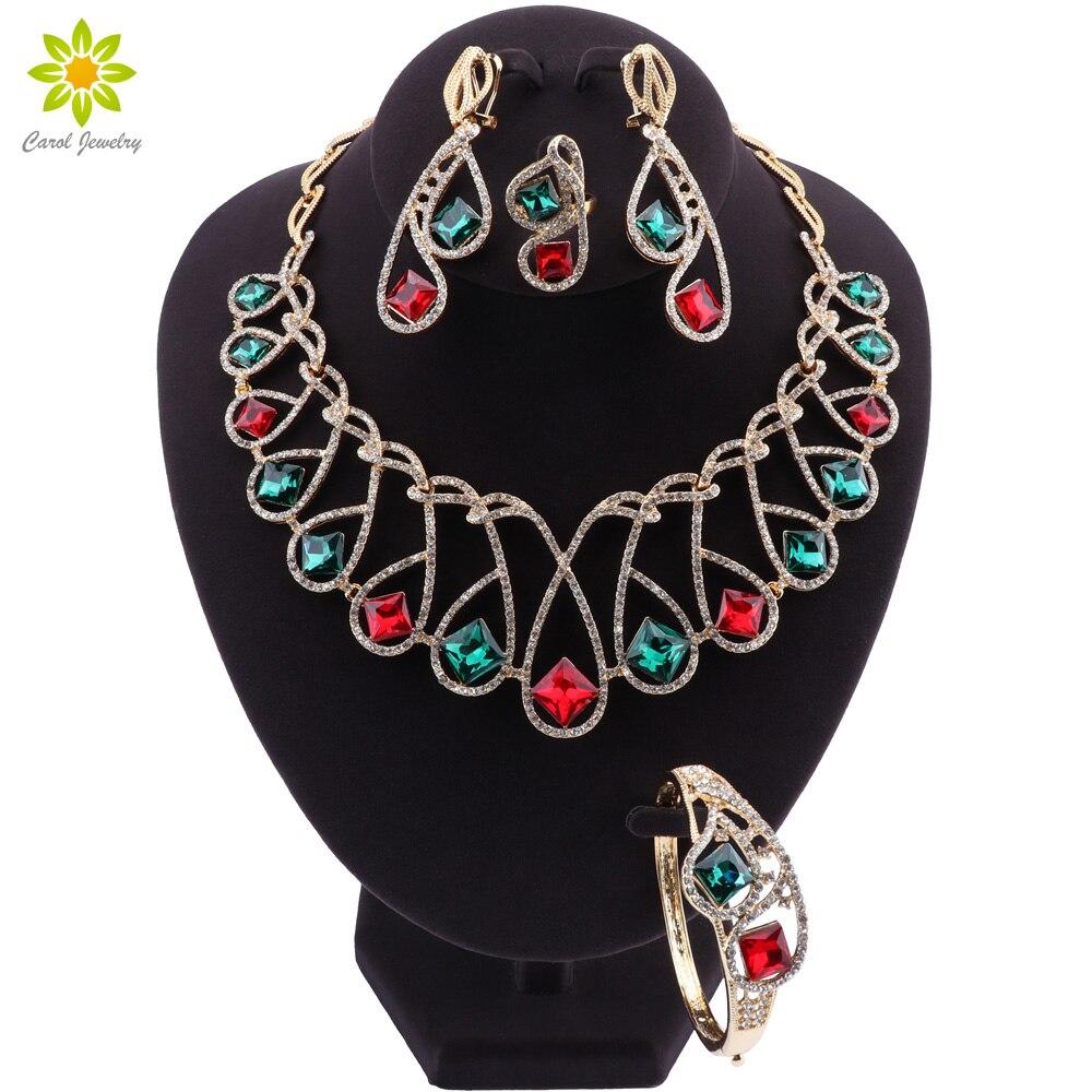 Nigeria mode bijoux ensembles rouge vert cristal collier Bracelet fête charme femmes boucles doreilles anneau bijoux accessoires