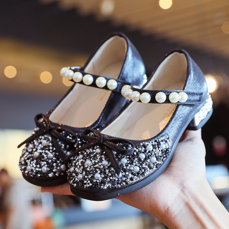 High Heel Butterfly Shoes Girl Princess Holiday Party Kids Dress Shoes Soft Sole Bling Luxury Designer Shoes for Girls D12051