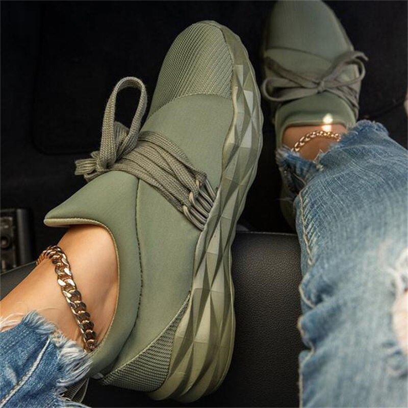 2020 Autumn Sneakers Women Casual Breathable Sport Shoes Lace Up Loafers Ladies White Sneakers Outdo