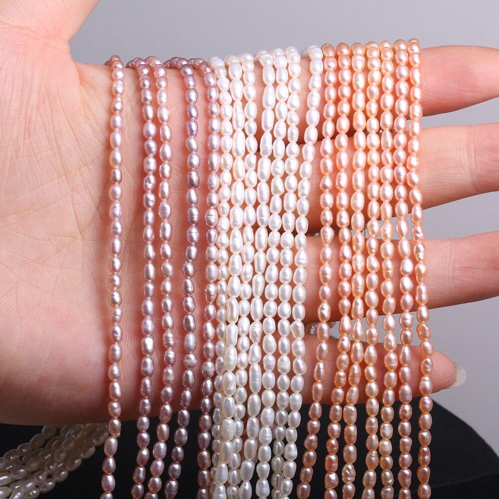 Perles de perles deau douce naturelles 2- 3mm petite perle de forme de riz pour la fabrication de bijoux collier Bracelet accessoires
