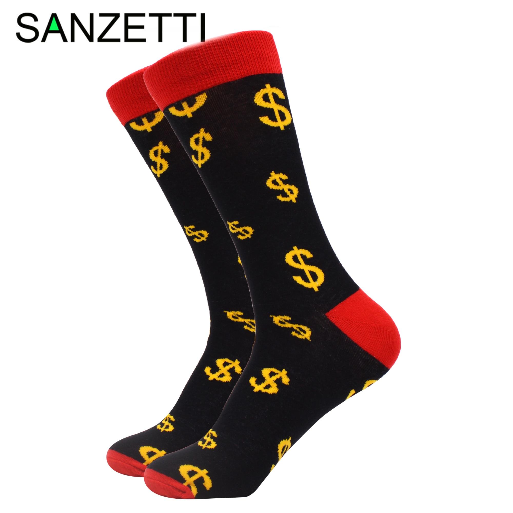 SANZETTI, 1 par de calcetines para hombre, algodón peinado cómodo feliz, novedad, divertido, guitarra, Dólar, gesto, patrón, boda, vestido divertido, calcetines