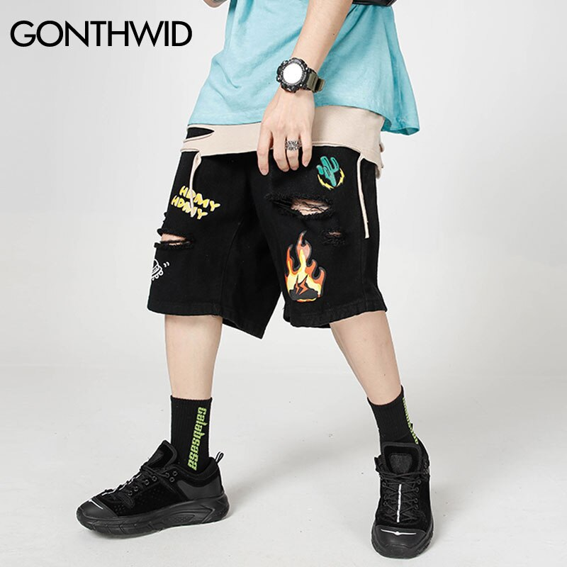 GONTHWID النار لهب الصبار طباعة دمرت ممزق فضفاض الدينيم شورتات جينز الشارع الشهير 2020 الهيب هوب جينز غير رسمي سراويل قصيرة أسود