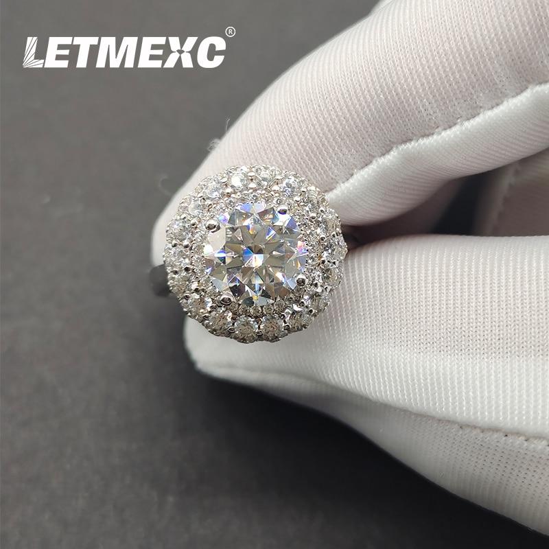 LETMEXC Jewelry 925 Silver 2ct Moissanite Diamond Gypsophila Diamond Ring D Color Romantic Proposal Wedding Engagement Ring Fema