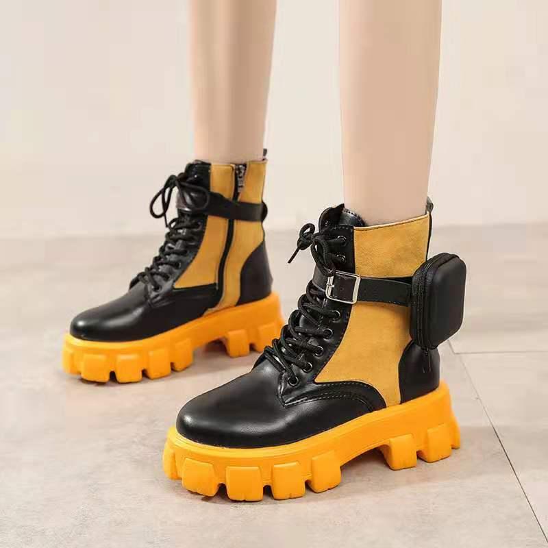 Модные женские ботильоны 2022, осенние кожаные ботинки на шнуровке высокого качества, износостойкие удобные женские ботильоны на платформе