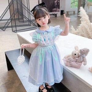 Girls'summer Frozen Princess Pierre Issa Dresses Girls'first Year Show Sparkly Sequined Blouse Short Sleeved Fairy Dress