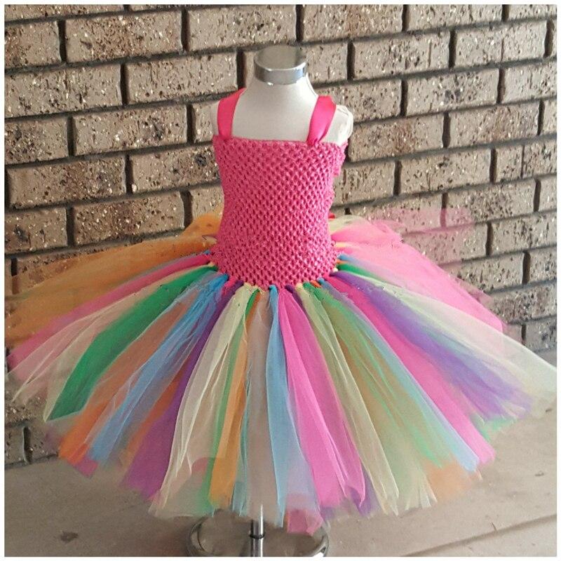 Arco-íris tutu vestido meninas crochê espartilho tule cintas vestido longo vestido de baile crianças festa aniversário traje fotografia dreeses