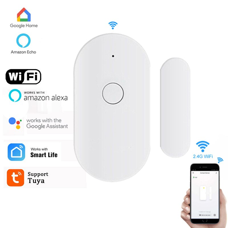 Nouveau capteur de fenetre de porte intelligente WiFi 2 4GHz detecteur dalarme magnetique Modules dautomatisation de capteur alarme a la maison Tuya APP en Stock