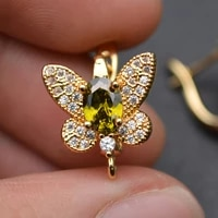 new design cz paved big size butterfly shape metal earring hooks brass jewelry findings gold color rhodium silver color