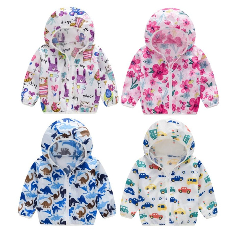 2020 Cute Baby Girl Jacket Boy Hooded Coat Sunscreen Baby Boys Girls Long Sleeved Summer Sun Protect
