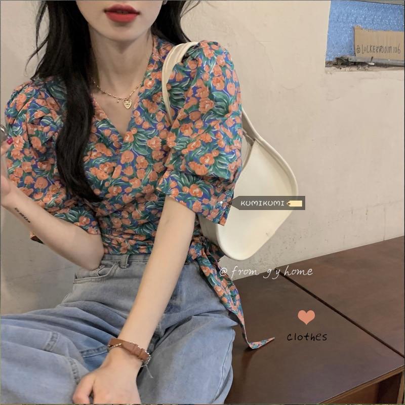 2021 New Women Shirt V-neck Short Sleeve Floral Shirt Women's Summer Care Machine Bandage Waist Shor