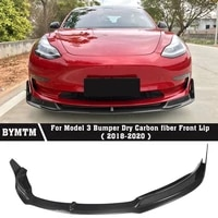 v style car accessories bumper carbon fiber front lip for tesle model 3
