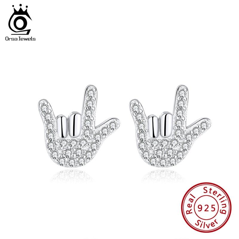 Pendientes ORSA JEWELS con pequeño gesto, diseño Original con circonita AAAA, pendiente pequeño de Plata de Ley 925, regalo de fiesta, joyería OSE219