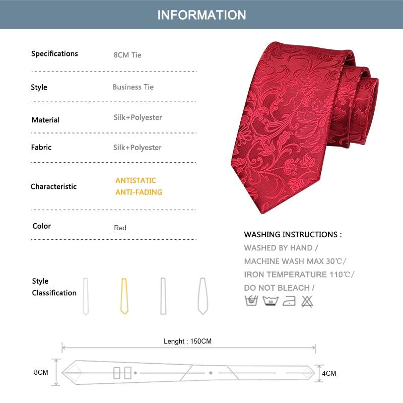 Red 8CM Wide Neck Tie High Quality Groom Wedding Tie  Jacquard Silk Tie For Men Business Suit Work Necktie Party Engagement