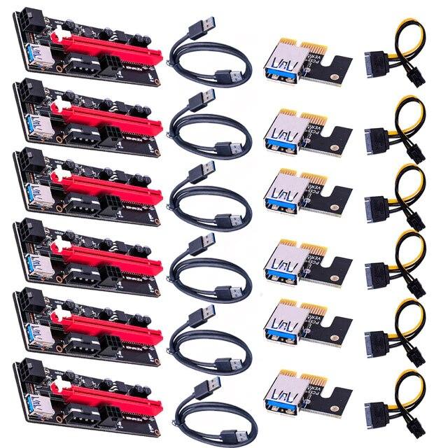 6 قطعة Ver009 Usb 3.0 Pci-E الناهض Ver 009S Express 1X 4X 8X 16X موسع الناهض محول بطاقة Sata 15Pin إلى 6 دبوس كابل الطاقة 60 سنتيمتر