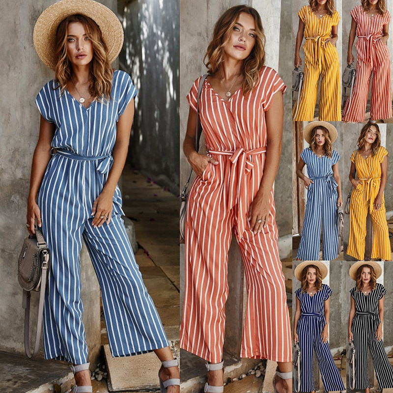 Sexy High Waist V-neck Striped Print Short-sleeved Casual Jumpsuit Striped Print Loose Mature Cotton Belt Plus Size Jumpsuit