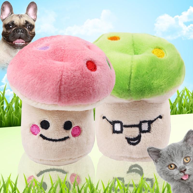 Pembe mantar yeşil mantar peluş vokal Pet köpek kedi