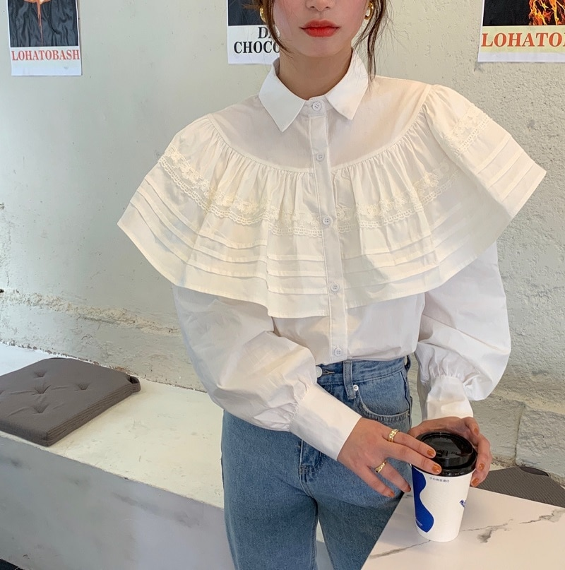 Hd90190089ab1460c8f4f83b930ddd4aef - Spring / Autumn Turn-Down Collar Long Sleeves Loose Cape Solid Buttons Blouse
