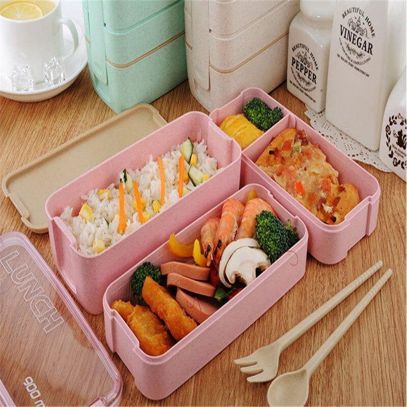 Caja Bento de paja de trigo de 900ml, utensilios de Cocina, utensilios de cocina, utensilios de Cocina, fiambrera de cocina