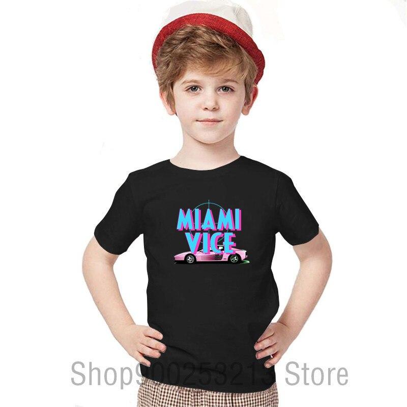 Camiseta para niños con cuello redondo de Miami Vice, camisetas personalizadas para niños, camisetas de manga corta, ropa novedosa para niños, Ropa para Niñas, camisetas
